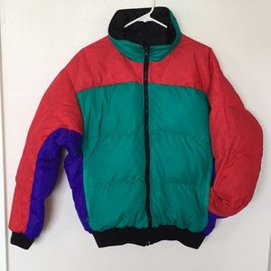 Men's Multi-Color Columbia Reversible Down Jacket